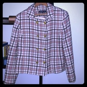 Plaid wool double breasted crop jacket